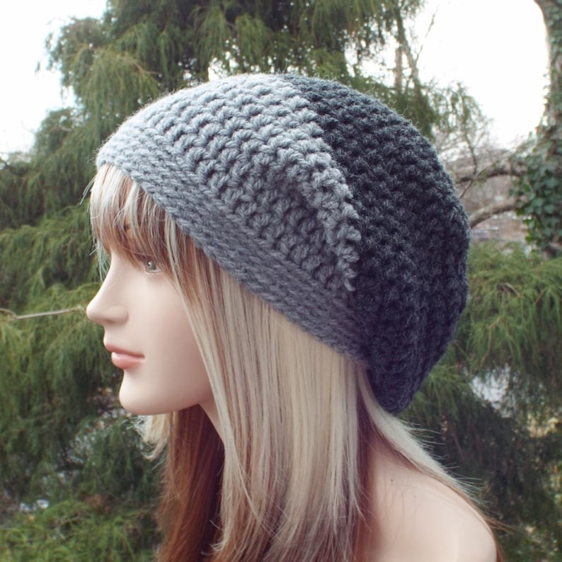 0f5abb263 Gray Color Block Slouchy Beanie, Womens Crochet Hat, Mens Slouchy Hat,  Oversized Slouch Beanie, Chunky Hat, Winter Hat, Grey Slouch Hat