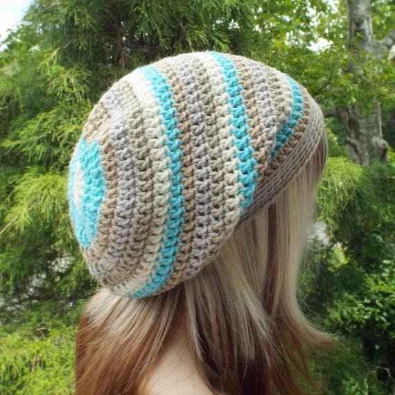 Slouchy Beanie Womens Crochet Hat Sandbar Stripe Multicolor  73777d706b6