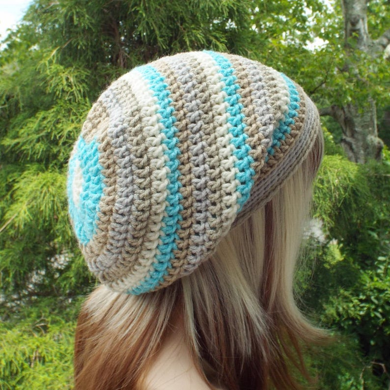 Slouchy Beanie Womens Crochet Hat Sandbar Stripe Multicolor image 0