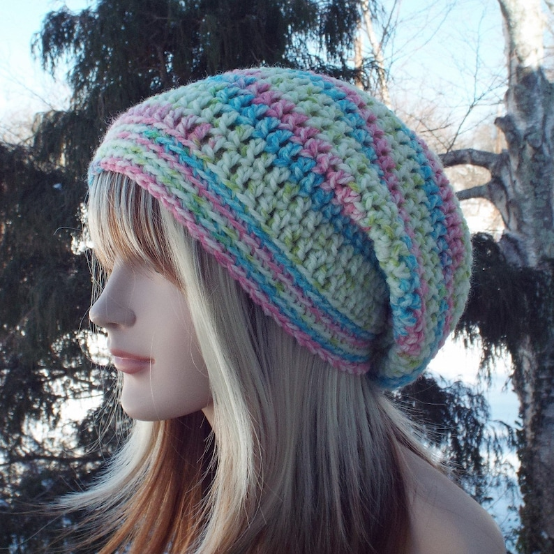 Womens Slouchy Beanie Pink Lime and Aqua Crochet Hat Slouchy image 0
