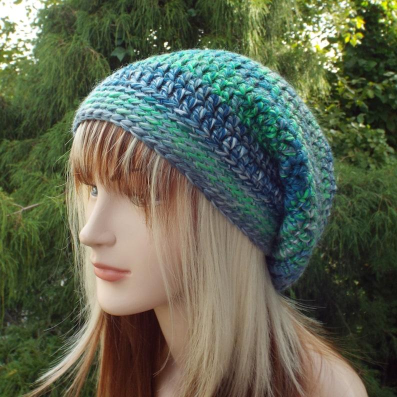 Blue and Green Slouchy Beanie Womens Crochet Hat Boho image 0