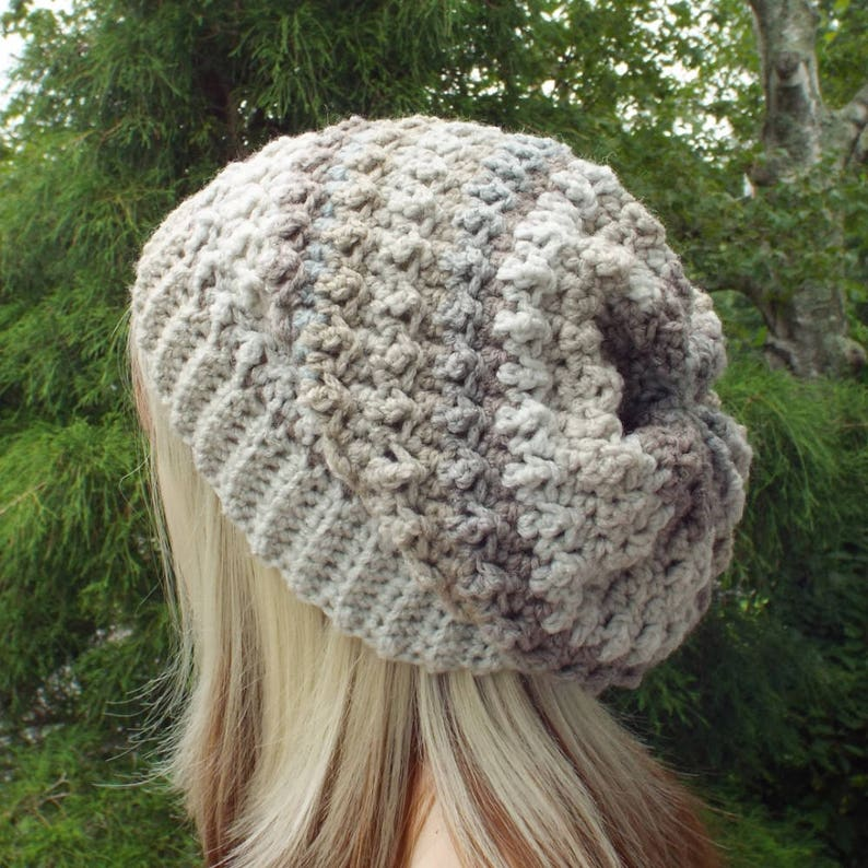 Tan and Gray Crochet Hat Womens Slouchy Beanie Oversized image 0