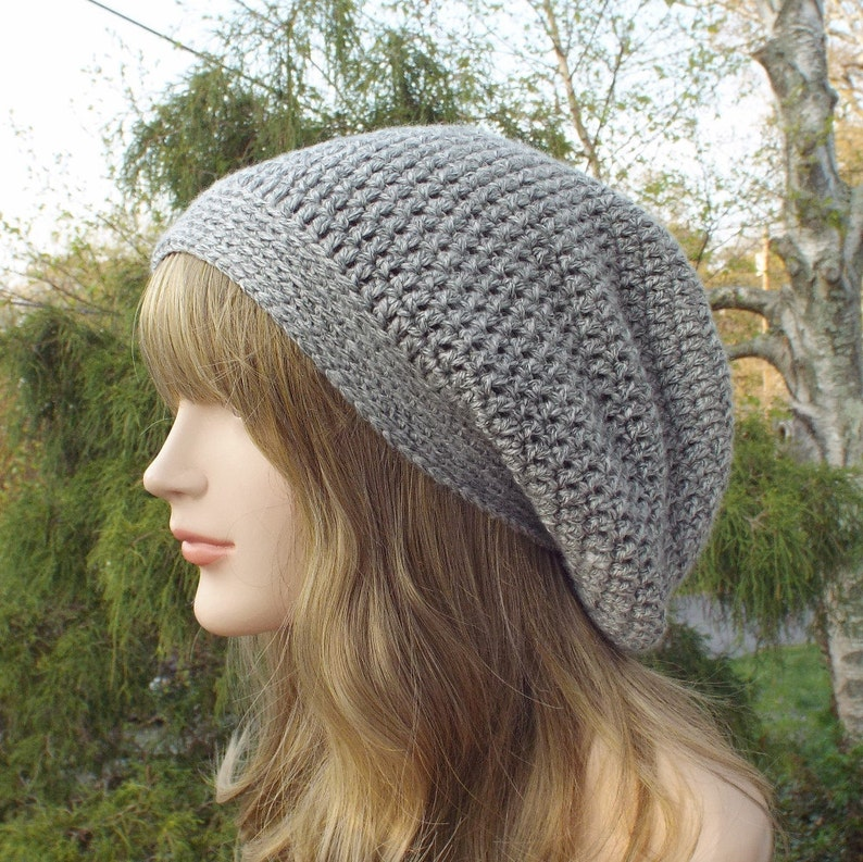 Gray Heather Slouchy Beanie Womens Crochet Hat Slouchy Hat image 0