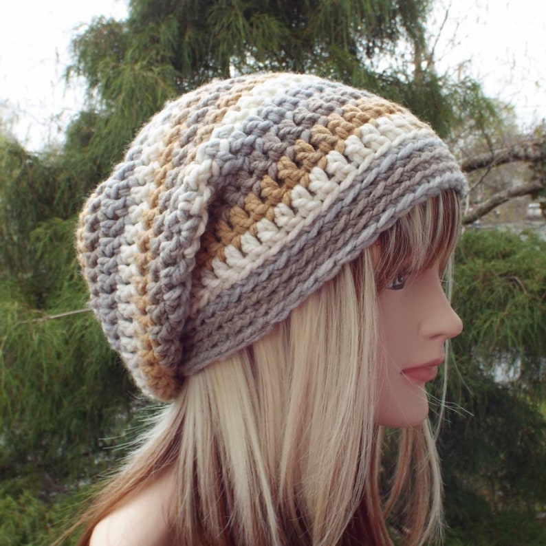 Tan Gray and Cream Slouchy Beanie Womens Crochet Hat Boho image 0