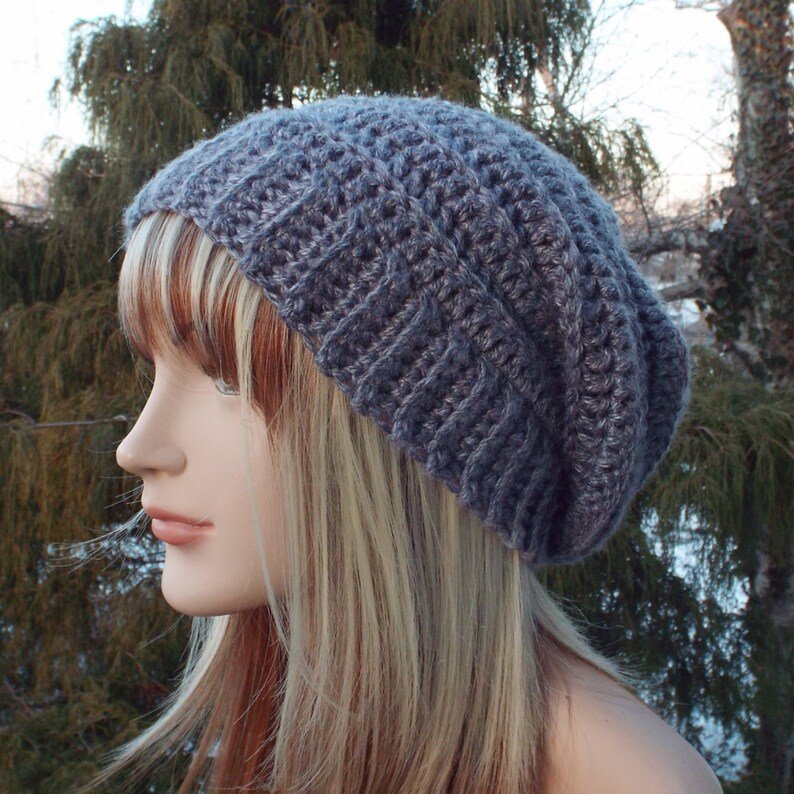 Misty Gray Crochet Hat Womens Slouchy Beanie Boho Slouchy image 0