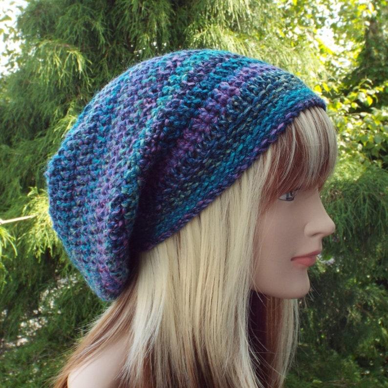 Slouchy Beanie Womens Crochet Hat Caribbean Multicolor image 0