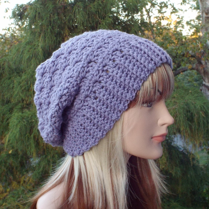 Dusty Lilac Purple Crochet Hat Slouchy Beanie for Women image 0