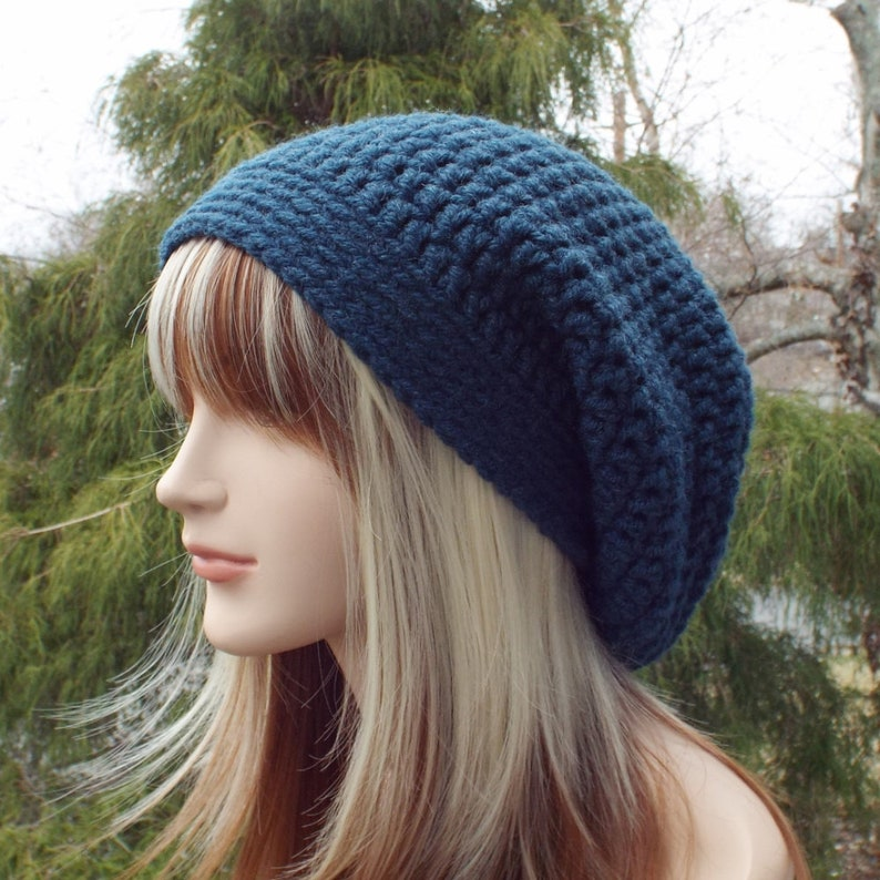Dark Denim Blue Slouchy Beanie Womens Crochet Hat Oversized  b63882e0bc6b