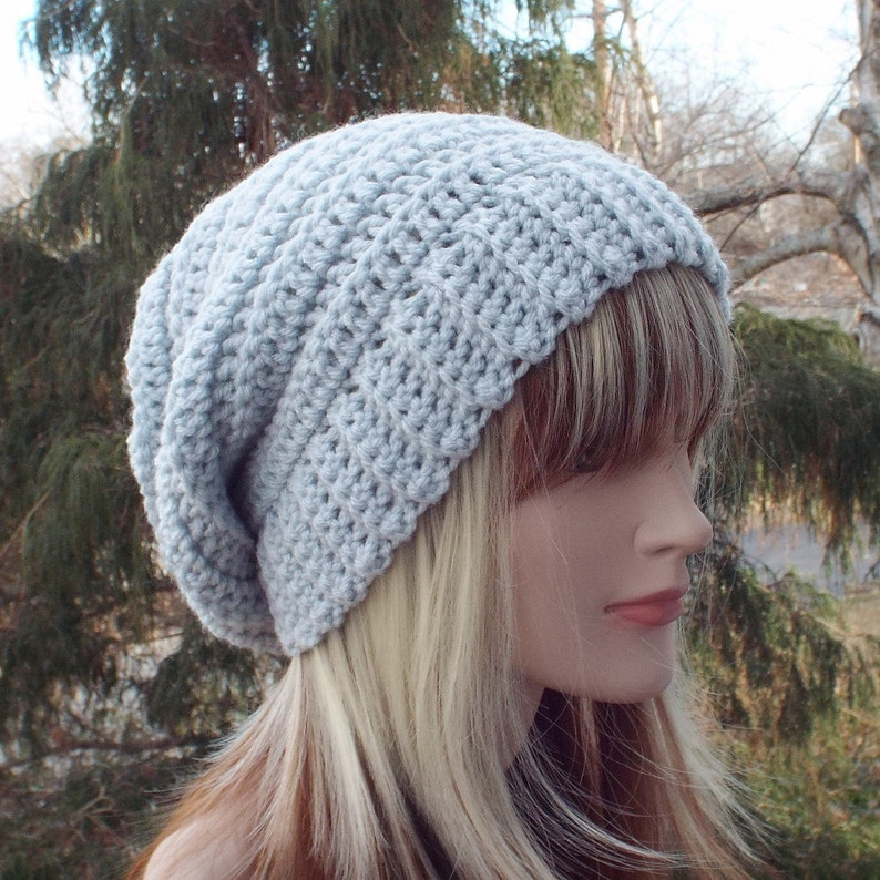 Light Gray Crochet Hat Womens Slouchy Beanie Boho Slouchy image 0