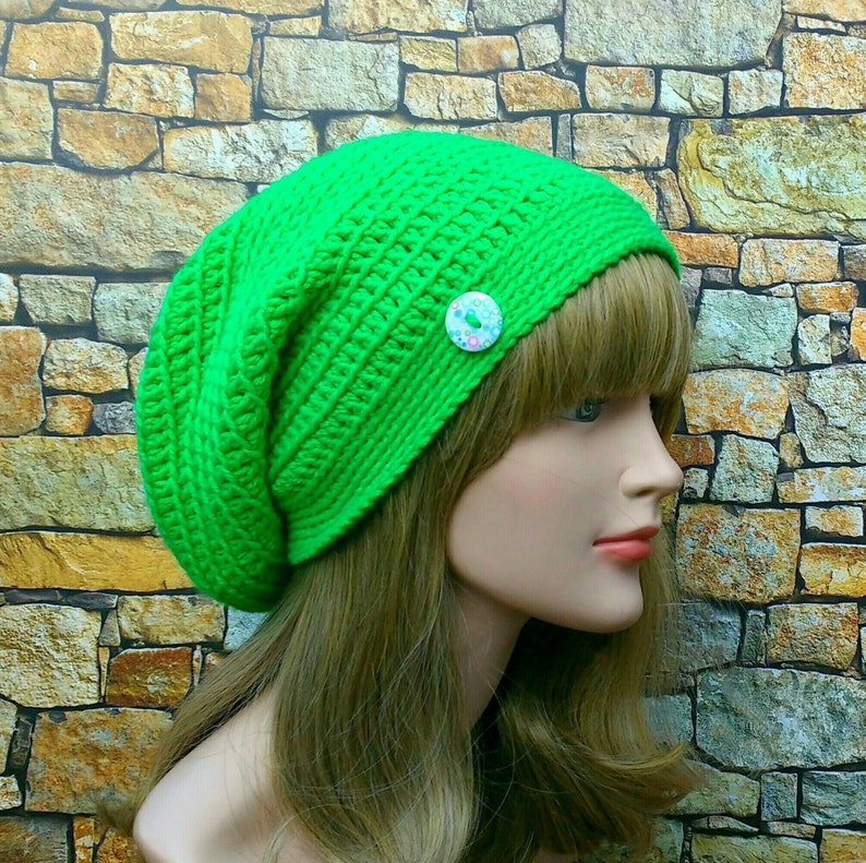 Electric Green Slouchy Beanie Womens Crochet Hat Slouchy Hat image 0