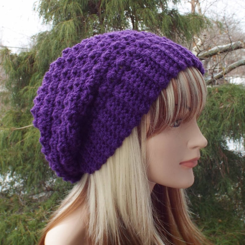 Purple Crochet Hat Womens Slouchy Beanie Oversized Slouch image 0