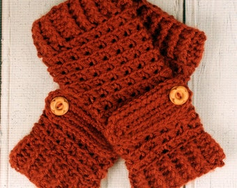 Crocheted Terra Cotta Deep Orange Fingerless Gloves with Button Straps