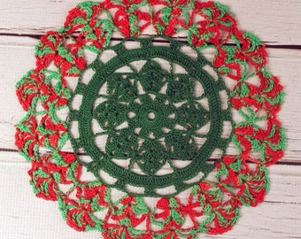 Crocheted Xmas Holiday Green Red Table Topper Doily - 10 1/2""