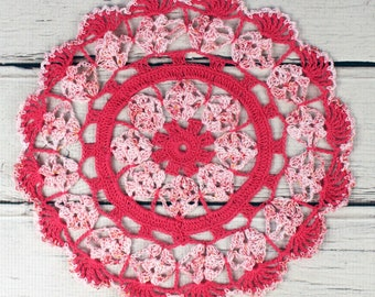 """Crocheted Hot Pink Variegated Table Topper Doily- 10 1/2"""""""
