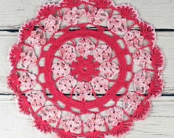 Crocheted Hot Pink Variegated Table Topper Doily- 10 1/2""