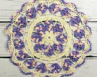 "Crocheted Cream Violet Lavender Table Topper Doily - 10 1/2"""