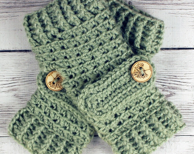 Featured listing image: Crocheted Light Sage Green Fingerless Gloves with Button Straps