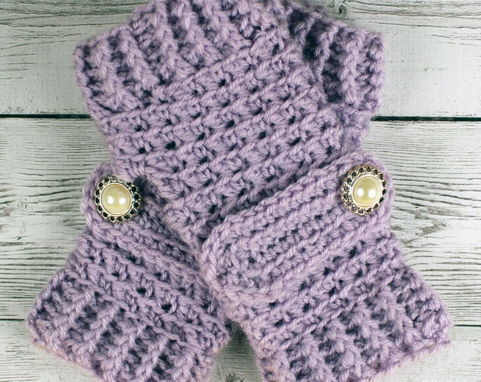 Crocheted Pale Plum Lavender Fingerless Gloves with Button Straps