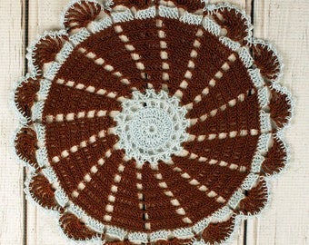 Crocheted Brown Pale Blue Table Topper Doily - 10 3/4""