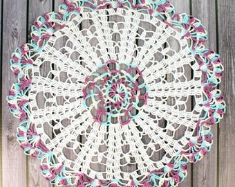 """Crocheted Large White Aqua Violet Variegated Table Topper Doily - 19"""""""