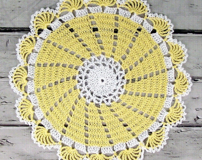 Featured listing image: Lovely Crocheted Yellow White Doily Table Topper - 10 1/2 inches