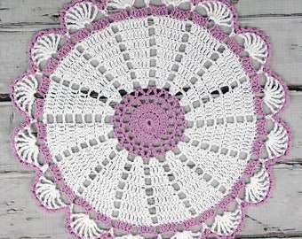 Lovely Crocheted White Violet Doily - 10 1/2 inches