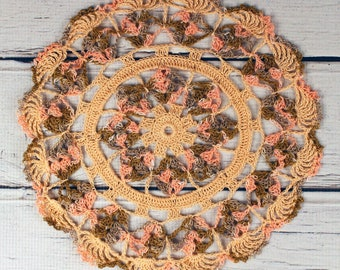 Crocheted Fall Peach Coral Brown Variegated Table Topper Doily- 10 1/2""