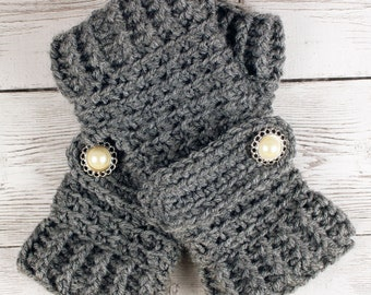 Crocheted Heather Gray Fingerless Gloves with Button Straps