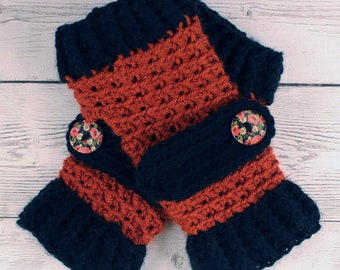 Crocheted Terra Cotta Black Fingerless Gloves with Button Straps