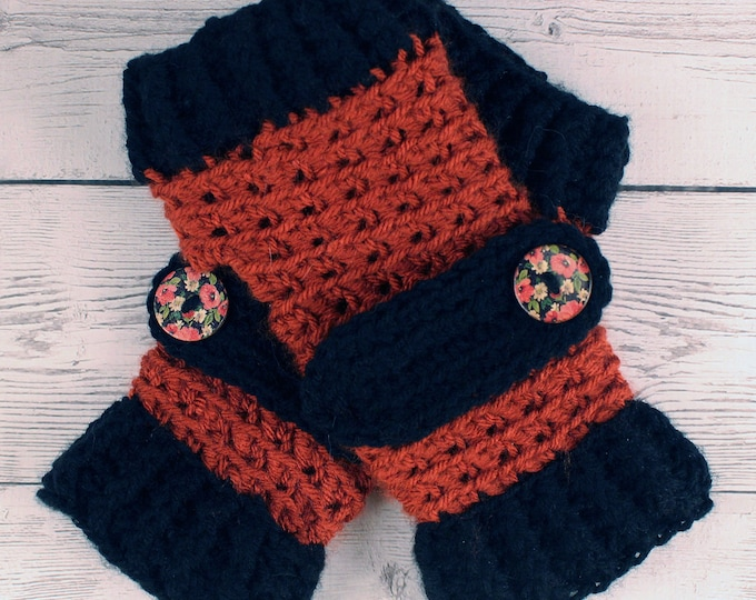 Crocheted Terra Cotta Black Fingerless Gloves with Button Straps