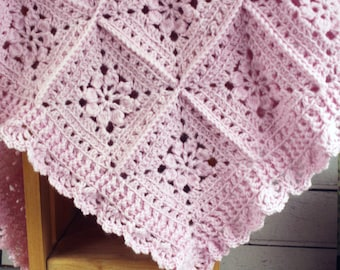 Beautifully Crocheted Baby Girl Pink Blanket Afghan