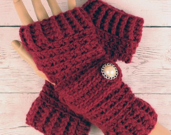 Crocheted Burgundy Fingerless Gloves with Button Straps