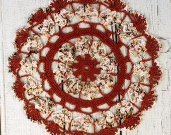 Crocheted Fall Russet Tan Brown Variegated Table Topper Doily- 10 3/4""