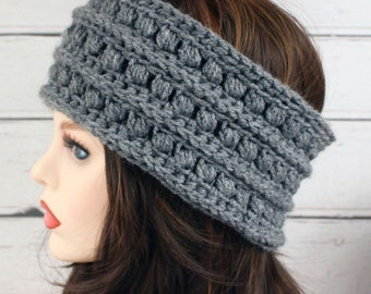 Crocheted Heather Gray Textured Ear Warmer Headband & Fingerless Gloves Set