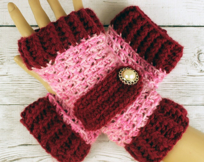 Crocheted Burgundy Shaded Pink Fingerless Gloves with Button Straps