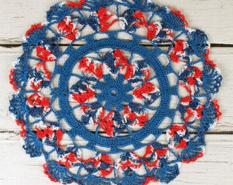 Crocheted 4th of July Red White Blue Table Topper Doily - 10 1/2""