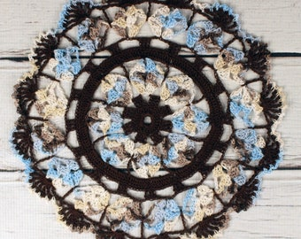 Crocheted Brown Blue Ecru Beige Table Topper Doily - 10 1/2""