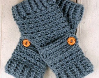 Crocheted Country Blue Fingerless Gloves with Button Straps