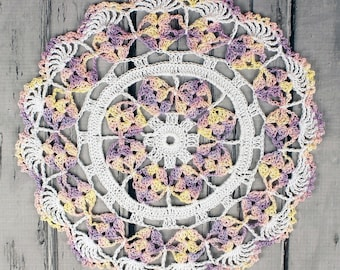 Crocheted White Yellow Lavender Pink Variegated Table Topper Doily - 10 1/2""