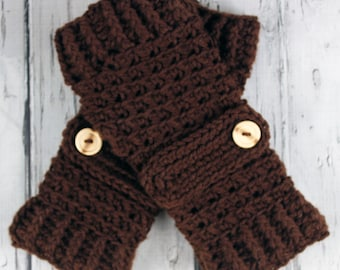 Crocheted Dark Brown Fingerless Gloves with Button Straps