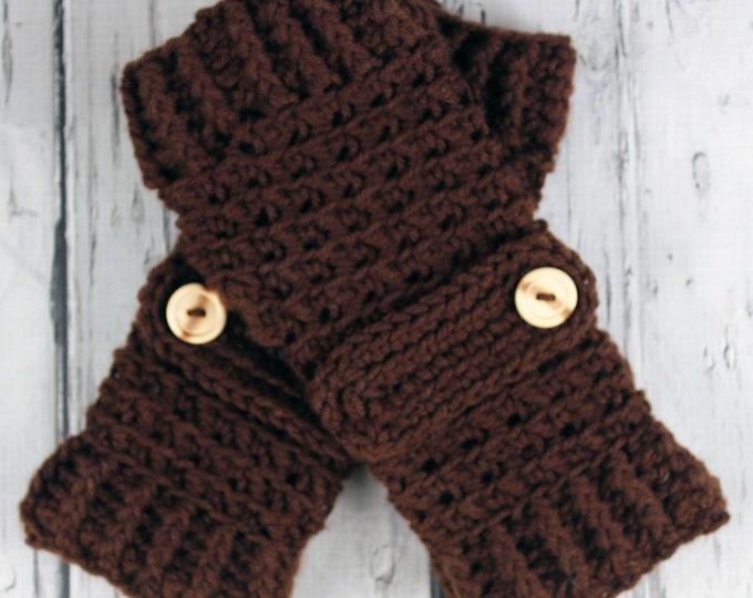 Crocheted Dark Brown Fingerless Gloves with Button Straps