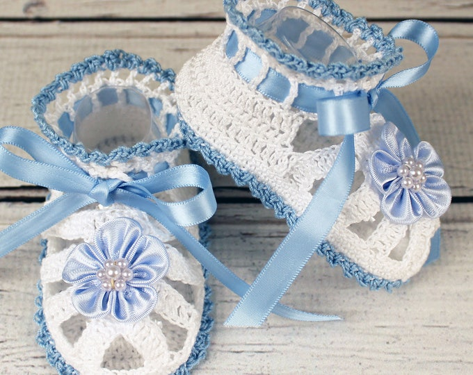 Featured listing image: Crocheted White & Blue Baby Booties Sandals - 3-6 mos.