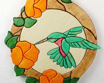 Handcrafted Wooden Intarsia Hummingbird Flower Wall Art Plaque Hanging