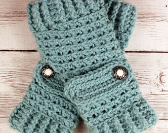 Crocheted Aqua Soft Sage Green Fingerless Gloves with Button Straps