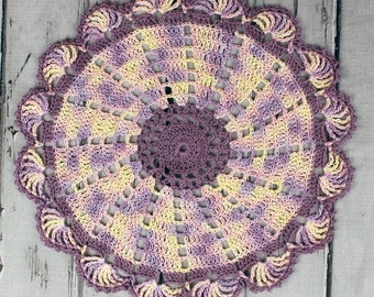 Crocheted Lilac Yellow Pink Variegated Table Topper Doily - 10 1/2""