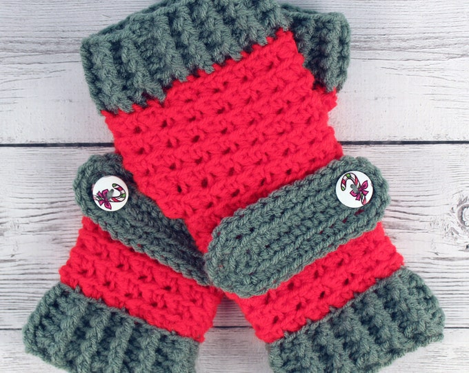 Crocheted Xmas Holiday Red Green Fingerless Gloves with Button Straps