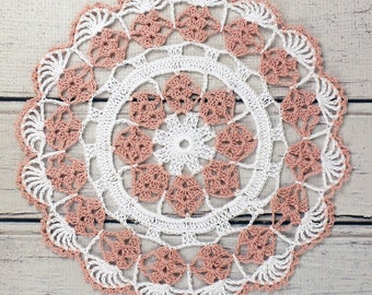 """Crocheted White Dusty Pink Table Topper Doily - 10 1/2"""""""