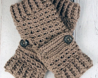 Crocheted Taupe Fingerless Gloves with Button Straps