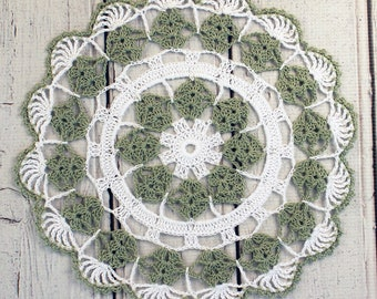 """Crocheted Sage Green White Table Topper Doily - 10 1/2"""""""