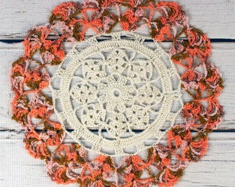 Crocheted Fall Off White Light Brown Orange Peach Table Topper Doily - 10 1/2""